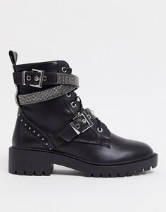 Черные байкерские ботинки со шнуровкой и ремешками со стразами New Look-Черный