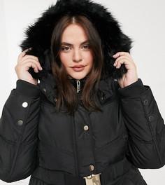 Черное удлиненное пальто-пуховик с поясом и капюшоном с искусственным мехом River Island Plus-Черный