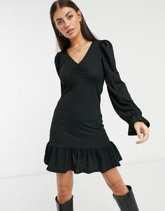 Черное платье мини с оборкой и длинными рукавами River Island-Черный