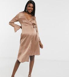 Платье-пиджак серо-коричневого цвета с завязками и рукавами-клеш Outrageous Fortune Maternity-Бежевый