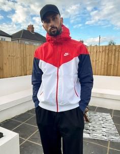 Белая ветровка с капюшоном Nike-Белый
