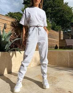 Серые джоггеры с завышенной талией и тремя полосками adidas Training-Серый