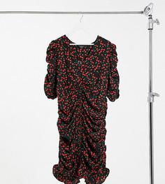 Чайное платье мини с принтом вишен Wednesdays Girl Curve-Черный
