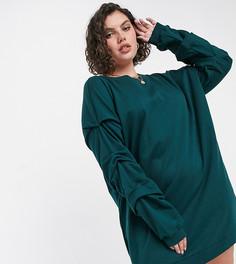 Темно-зеленое платье-свитшот в стиле oversized с длинными рукавами Noisy May Curve-Серый
