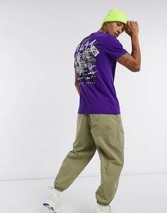 Фиолетовая футболка с принтом самурая на спине Bershka-Фиолетовый