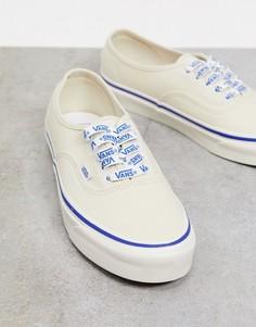 Кремовые кеды с логотипом на шнурках Vans authentic-Кремовый