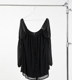 Черное свободное платье мини с пуговицами In The Style Plus x Lorna Luxe-Черный