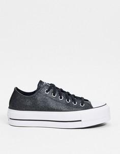 Черные с блестками низкие кроссовки на платформе Converse Chuck Taylor All Star-Черный