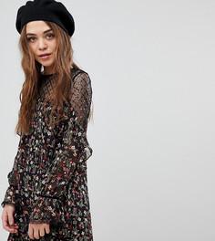 Платье с цветочным принтом и пайетками New Look-Черный
