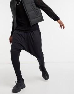 Легкие черные джоггеры заниженного кроя ASOS DESIGN-Черный