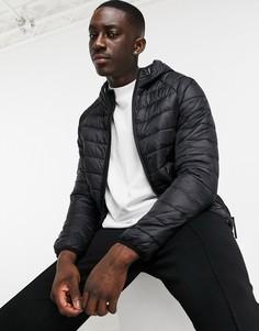 Черная дутая куртка с капюшоном Bershka-Черный