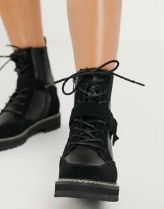 Черные походные ботинки c пряжкой и контрастными белыми строчками River Island-Черный