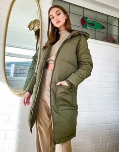 Удлиненная дутая куртка цвета хаки Object-Зеленый