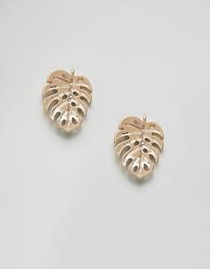 Серьги-гвоздики с пальмовыми листьями ASOS DESIGN-Золотой