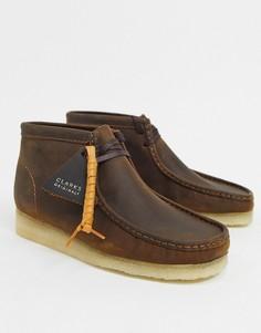 Ботинки из вощеной кожи Clarks Originals wallabee-Коричневый