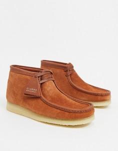 Светло-коричневые замшевые ботинки Clarks Originals wallabee-Светло-коричневый
