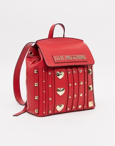 Красный рюкзак с заклепками Love Moschino love and more