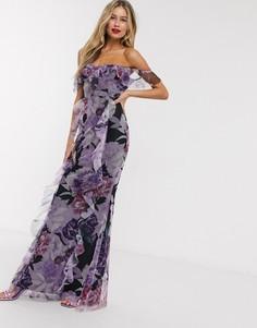 Платье макси с открытыми плечами и цветочным принтом Lipsy-Мульти