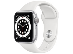 Умные часы APPLE Watch Series 6 40mm Silver Aluminium Case with White Sport Band MG283RU/A