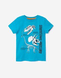 Голубая футболка с динозаврами для мальчика Gloria Jeans