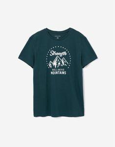 Тёмно-зелёная футболка с принтом Gloria Jeans