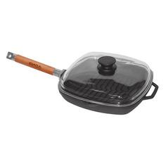 Сковорода-гриль БИОЛ 1026С, 26x26см, съемная ручка, с крышкой, черный