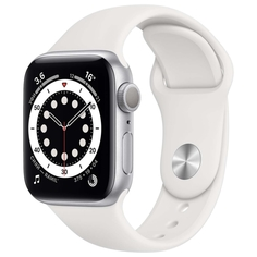 Смарт-часы Apple Watch S6 44mm Silver Aluminum Case with White Sport Band (M00D3RU/A)