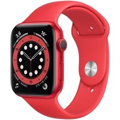 Смарт-часы Apple Watch Series 6 44 мм красный, спортивный ремешок