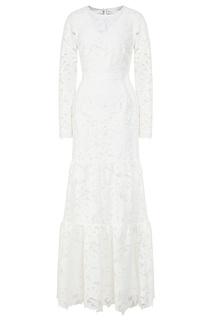 Белое платье с цветочной вышивкой Self Portrait