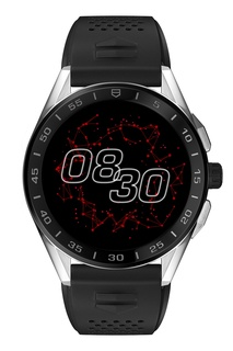 CONNECTED Черные смарт-часы со стальным корпусом и каучуковым браслетом Tag Heuer