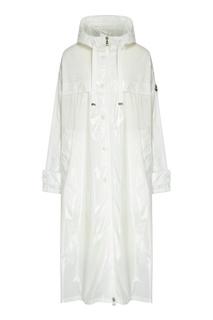 Белый плащ-дождевик с капюшоном Moncler
