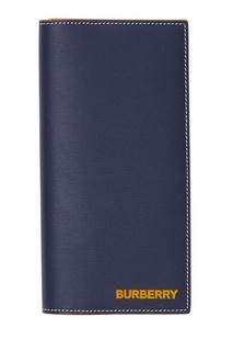 Синий бумажник из кожи с контрастной отстрочкой Burberry