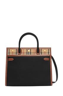 Черная сумка с текстильной вставкой Burberry