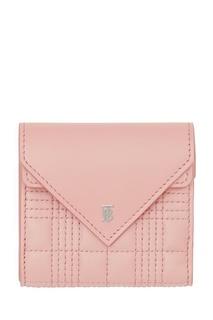 Складной розовый бумажник из кожи Burberry