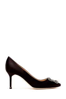 Черные сатиновые туфли Hangisi 70 Manolo Blahnik