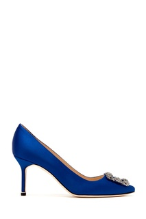 Синие сатиновые туфли Hangisi 70 Manolo Blahnik