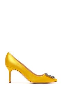 Желтые сатиновые туфли Hangisi 70 Manolo Blahnik