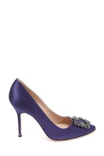 Сатиновые туфли фиолетового цвета Hangisi Satin 105 Manolo Blahnik