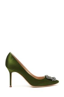 Зеленые туфли из атласа Hangisi 90 Manolo Blahnik