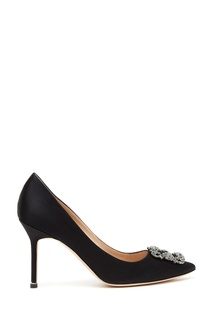 Черные туфли из атласа Hangisi 90 Manolo Blahnik