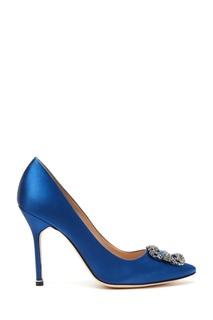 Синие туфли из атласа Hangisi 105 Manolo Blahnik
