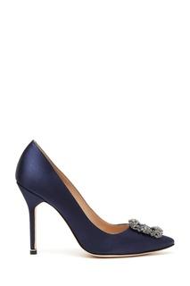 Темно синие туфли из атласа Hangisi 105 Manolo Blahnik