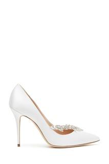 Белые туфли с кристаллами Nadira 105 Manolo Blahnik