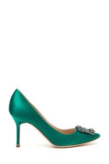 Туфли из атласа Hangisi 90 изумрудного цвета Manolo Blahnik