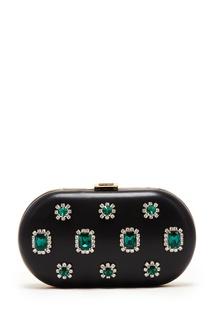 Кожаный клатч с кристаллами Prada