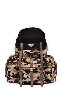 Текстильный рюкзак с камуфляжным принтом Prada