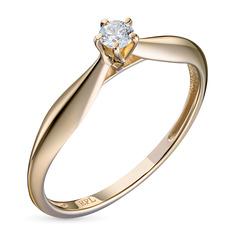 Кольцо из желтого золота с бриллиантом э0301кц08200110 ЭПЛ Якутские Бриллианты