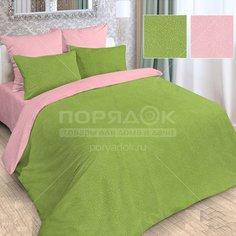Постельное белье Love Story двуспальное полисатин жаккард (простыня 180х215 см, 2 наволочки 70х70 см, пододеяльник 175х215 см) розово-зеленое