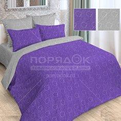 Постельное белье Love Story двуспальное полисатин жаккард (простыня 180х215 см, 2 наволочки 70х70 см, пододеяльник 175х215 см) серо-фиолетовое