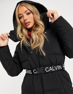 Черный удлиненный пуховик Calvin Klein Jeans